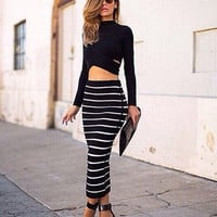 Women Dress Set Long Sleeve Crop Top and Striped Skirt Set Maxi Bodycon Bandage Party Dress 2 Piece Set Women = 1956818564