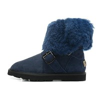UGG Women Fur Wool Snow Boots Calfskin Shoes
