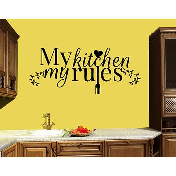 Wall Decal Kitchen Words Quote Decor Cooking Cafe Rules Vinyl Sticker (ed1473)
