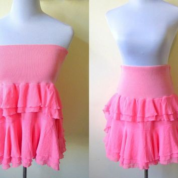Spring / Summer Sale: bright pink layered skirt (free size)