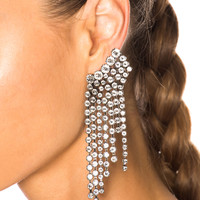 Isabel Marant Crystal Cascade Earrings in Silver | FWRD