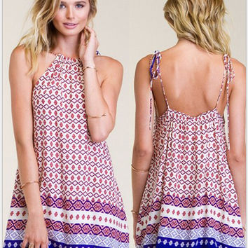 Spaghetti Strap Print Beach Holiday Dress