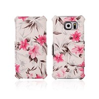 Galaxy S6 Case, Case4fun [Floral] Samsung Galaxy S6 Case Flip [Flip X] Premium Slim Flip Cover Folio Flower Case for Galaxy S6 / Galaxy SVI