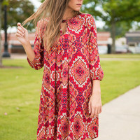 Moroccan We Go Dress, Brick