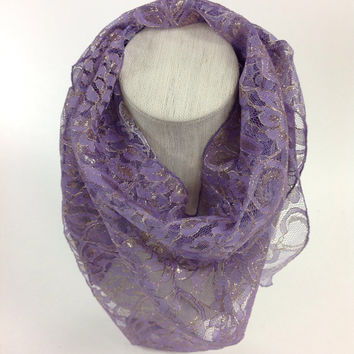 Fancy Shimmering French lace scarf, double sided lavender lace scarf, Fancy Lavender Bandana style scarf, cowl lace scarf