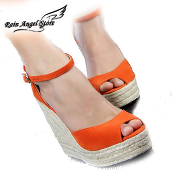 New Arrival Woman Wedges Sandals Candy Color Flock Rope Open Toe Platform Summer Pumps High Heels Shoes