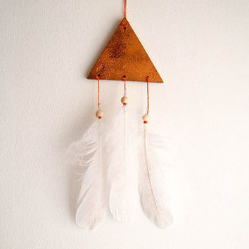 Boho Triangle Mobile - Sparkling Stars - With Golden Glittered Stellar Sky and Natural White Feathers - Home Decor, Nursery Mobile