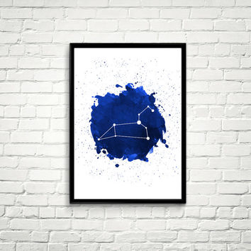 Leo Constellation Watercolor splashes Print, Blue Constellation Wall Art, Navy Blue Night Sky, Leo Constellation, Blue Print *6*