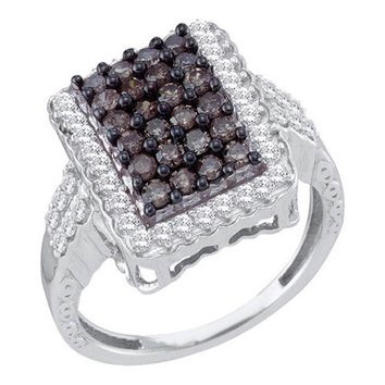 Ladies Champagne Brown Diamond Engagement Ring 10K White Gold 1.00CT