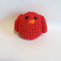 Cardinal Red Bird PinCushion / crocheted bird / Ornament / Shelf / Ledge / Novelty Gift / Birthday / Teacher Appreciation / READY to Ship