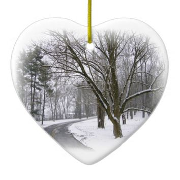 Serene Winter Afternoon Drive Ceramic Ornament