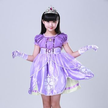 High Quality Sofia Princess Fluffy Dress Costume Princess Sophia Free ShIpping Party Summer Baby Kids Weeding Christma Dress