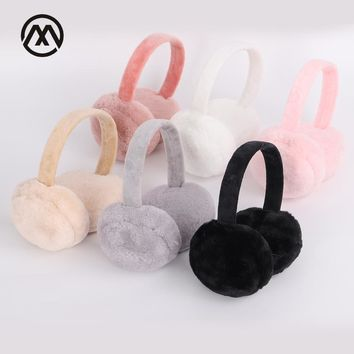 New fur solid color ladies earmuffs and winter warm and comfortable unisex skiing Fur headphones casque antibruit cute