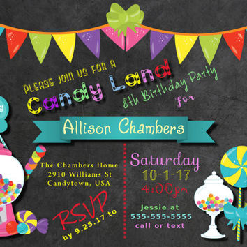 Printable Candy Party Invitation, Candy Birthday Party Invitations, Candyland invitation, Candy Land Invite, Chalkboard Birthday Invitation