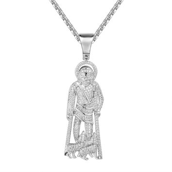 Religious St.Lazarus on Crutches Pendant with dogs Pendant