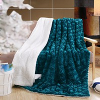 DaDa Bedding Mermaid Scales Blue Teal Lavish Luxe Soft Warm Cozy Plush Reversible Faux Fur with Sherpa Backside Fleece Throw Blanket (BL-171805)