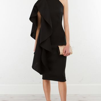 Ruffle Dress in Black and Ivory