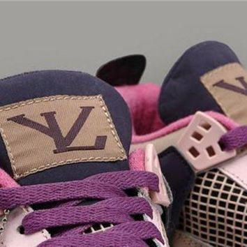 Hot Air Jordans 4 Retro Women Shoes Coffe Pink Purple