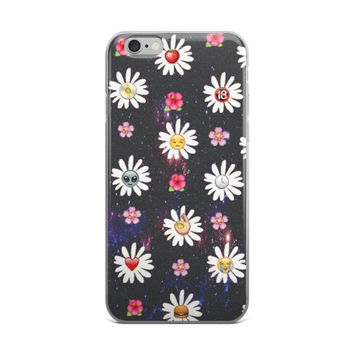 Alien Apple Burger Heart Crying Laughing Smiley Face Flower Daisy Emoji Collage In Space Dark Blue iPhone 4 4s 5 5s 5C 6 6s 6 Plus 6s Plus 7 & 7 Plus Case