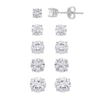 Cubic Zirconia Sterling Silver Stud Earring Set (White)
