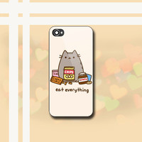 Pusheen The Cat Eat Every Thing - Print on Hard case for iPhone 4/4s and iPhone 5/5s/5c