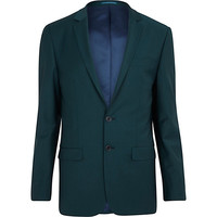 River Island MensDark green wool-blend skinny suit jacket