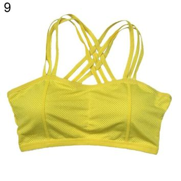 Running Vests Jogging Cotton Blend Sexy Pull Up Sports Bra Solid Color Bustier Vest Gym Running Yoga Workout Athletic Top KO_11_1
