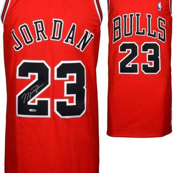 CREYONY Michael Jordan Signed Autographed Chicago Bulls Basketball Jersey (Upper Deck Authenticated)