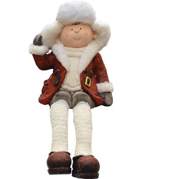 "25"" Santa in Winter Flannel with Sack of Pine Christmas Figure Table Top Decoration"