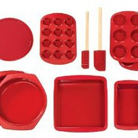 Silicone Solutions 10-Piece Essential Baking Set, Burgundy: Kitchen & Dining