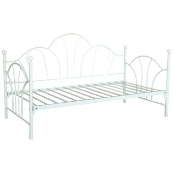 Twin Size Kids Girls Bedroom Bed Frame Contemporary White Metal Daybed