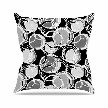 "Julia Grifol ""Simple Grey Circles"" Black Gray Outdoor Throw Pillow"
