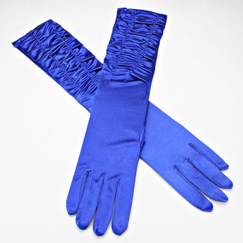 Over The Elbow Gloves Blue