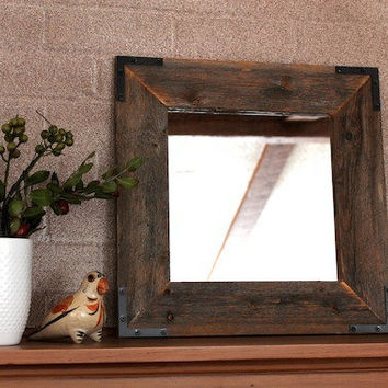 Rustic Framed Mirror Industrial - Eco Decor Reclaimed Wood Mirror - 18x18 finished