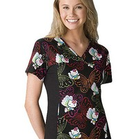 Buy Flexibles Womens V-Neck Dots of Butterflies Printed Scrub Top for $22.45