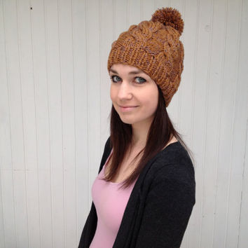 Golden Knitted Beanie Pom Pom Hand Knitted Hat Women Hat Cable Knit / Golden