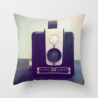 vintage camera Throw Pillow by Deb Schmill