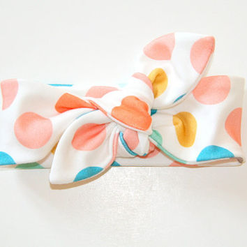 large polka dot organic cotton knit headband / peach coral teal mustard / infant toddler headband / stretchy headband / pastels
