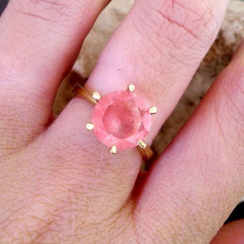 SALE! Pink chalcedony ring,October Birthstone,gold ring,Rose quartz  ring, small round ring,cherry quartz,gemstone ring,bridal ring
