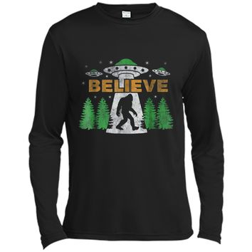 Bigfoot UFO Aliens  BELIEVE Sasquatch Gift  Long Sleeve Moisture Absorbing Shirt