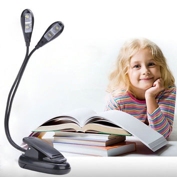 Adjustable Dual Arm Flexible USB Rechargeable LED Reading Light Clip-on Clamp Bed Table Desk Lamp F1