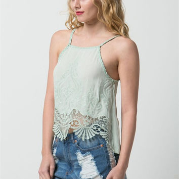 (amz) Bohemian scallops crochet trimming mint cami