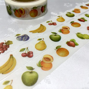 Fruit washi tape 10M mixed fruit strawberry peach grapes orange masking tape yummy fruit party deco sticker tape gift wrapping tape