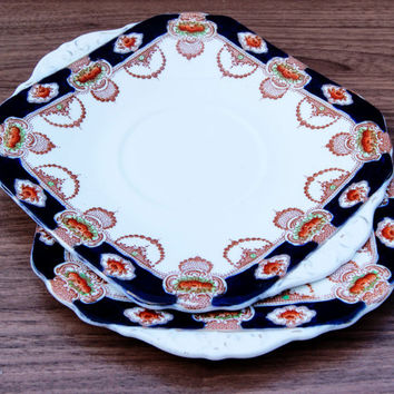 A pair of Vintage ArtDeco Imari Doric China England Cake/Sandwich Serving Plates