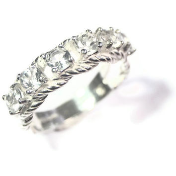 White Topaz Ring, Affordable Wedding Band, Six Stone Braided Ring, Faux Diamond, Sterling Silver Jewelry