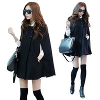Elegant Women Black Batwing Cloak Coat Fashion Girls Casual Poncho Winter Coat Jacket Korean Style Loose Cape Outwear