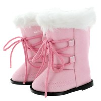 "Doll Clothes Fits American Girl 18"" Inch Snow Boots Pink Fashion Style Shoes"