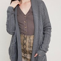 Open Front Cable Knit Sweater Cardigan - Charcoal
