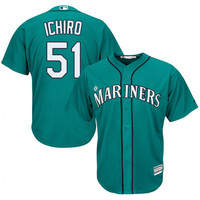 Men's Majestic Ichiro Suzuki Seattle Mariners Player Replica Green Teal Alternate Cool Base Jersey