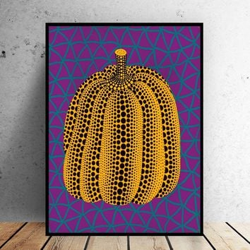 SELFLESSLY ART Yayoi Kusama Purple Pumpkin Canvas Art Printed Oil Painting On Canvas Wall Painting for Home Decor Wall Picture